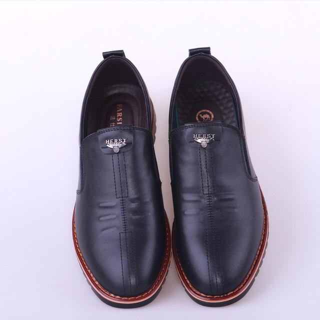 eb270326bbf1c9 Home / Mens Footwear / British Men's Casual Shoes Soft Bottom Black  comfortable Slip on Flats Hot Sale Men Genuine Leather Shoes Plus Big Size  NP009